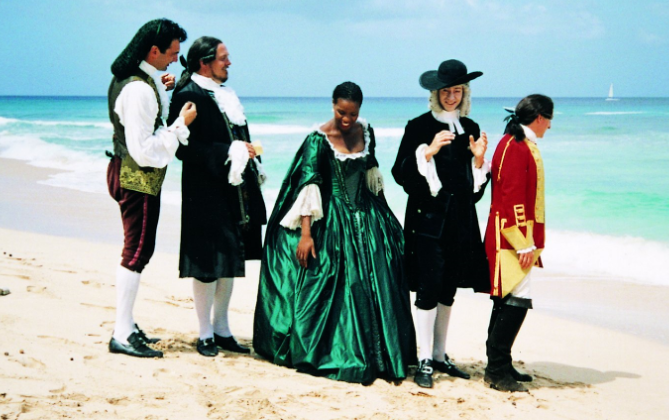 London Festival Opera singers The Barber of Seville on the beach in Barbados