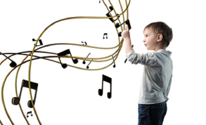 A child learning music